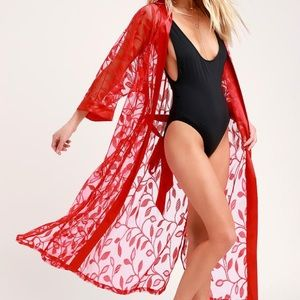 Red Embroidered Mesh Swim Cover-Up Kimono Robe